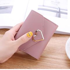 2019 New Promotion Ladies Wallets Students PU Leather Triple Folding Short Wallet Money Pocket Purse light pink 11.5*9*1.5cm