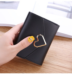 2019 New Promotion Ladies Wallets Students PU Leather Triple Folding Short Wallet Money Pocket Purse black 11.5*9*1.5cm