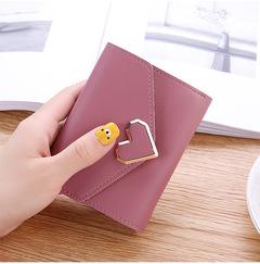 2019 New Promotion Ladies Wallets Students PU Leather Triple Folding Short Wallet Money Pocket Purse dark pink 11.5*9*1.5cm