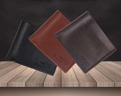 MenBense Mens Business Wallets PU Leather Folding Short Wallet Money Pocket Purse light brown 11.5*9.5cm