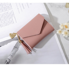 Ladies Fashion Wallets Students PU Leather Triple Folding Short Wallet Womens Money Pocket Purse light pink 11*9*2cm