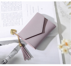 Ladies Fashion Wallets Students PU Leather Triple Folding Short Wallet Womens Money Pocket Purse light purple 11*9*2cm
