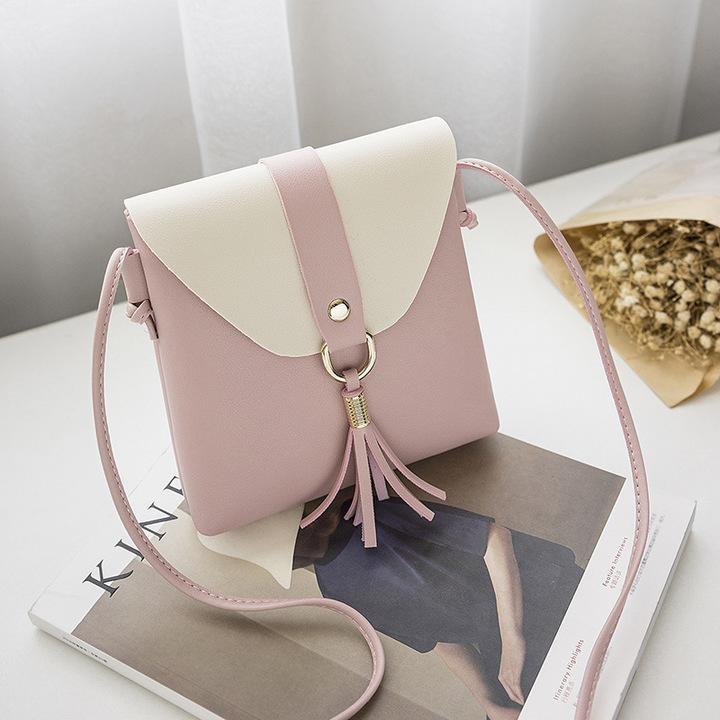 New Promotion Ladies Fashion Tassel Shoulder Bag Womens Elegant Party Bags Students Bag Phone Bag pink 16*18*4cm