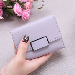 New Promotion Ladies Wallets Simple Fashion Students PU Leather Triple Folding Short Wallet Purse light purple 11.5*9*1.5cm