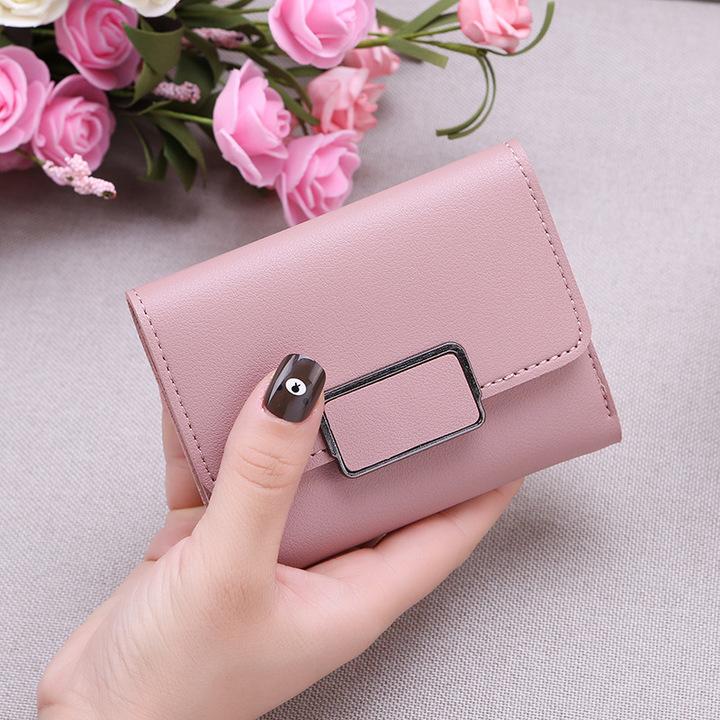 New Promotion Ladies Wallets Simple Fashion Students PU Leather Triple Folding Short Wallet Purse light pink 11.5*9*1.5cm
