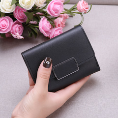New Promotion Ladies Wallets Simple Fashion Students PU Leather Triple Folding Short Wallet Purse black 11.5*9*1.5cm