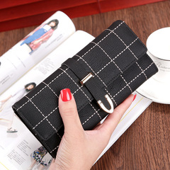 Women Wallets Long With Plaid PU Leather Fashion Hasp Coin Purse Phone Bag Female Wallet black 19*9.5*3cm