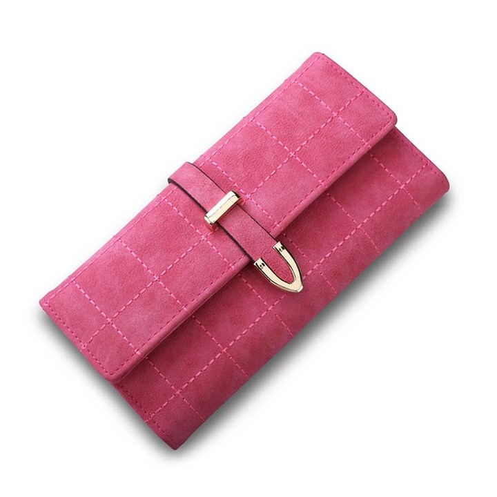 Women Wallets Long With Plaid PU Leather Fashion Hasp Coin Purse Phone Bag Female Wallet rose red 19*9.5*3cm