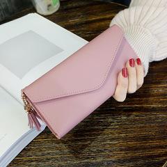 Long Wallet Women Purses Tassel Coin Purse Wallet Female Clutch Money Bag PU Leather Wallet light pink 18.8*9*0.5cm
