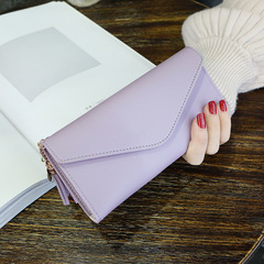 Long Wallet Women Purses Tassel Coin Purse Wallet Female Clutch Money Bag PU Leather Wallet light purple 18.8*9*0.5cm