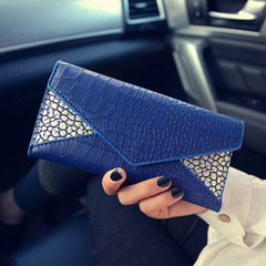 Ladies Fashion Crocodile Grain Clutch Bag Female Evening Party Bag 10x Card Holder PU Leather Wallet blue 19*10*2cm