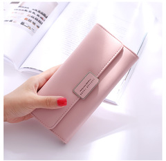 Ladies Simple Fashion Wallet Long Big Capatity Womens Wallet Purse Phone Bag  Coin Pocket Cluth Bag pink one size