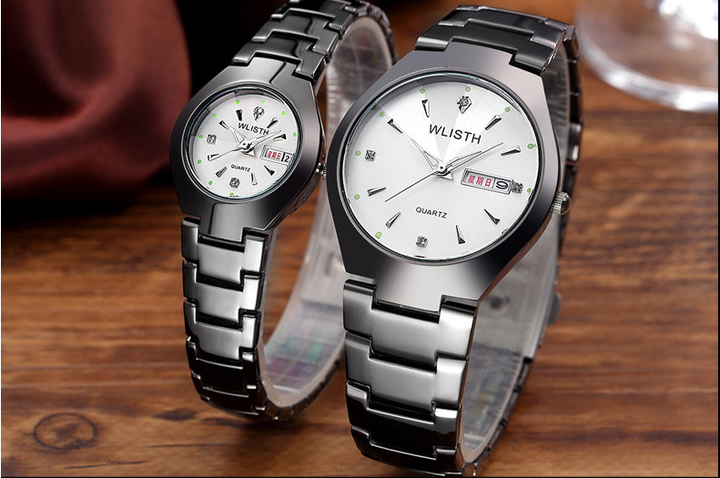 WLISTH Couple Watches  2Pcs/Set New Style Men's And Women's Watches Waterproof Quartz Watch silver(white dial) 2pic(1 male+1 famale)
