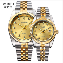 WLISTH 2Pcs/Set Couple Watches New Style Men's And Women's Watches Waterproof Quartz Watch black dial 2pic(1 male+1 famale)