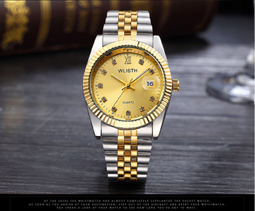 WLISTH Men Watch Male Top Brand Luxury Famous Quartz Wrist Watches Men  Steel Quartz-Watch golden dial men b53eedf37aec