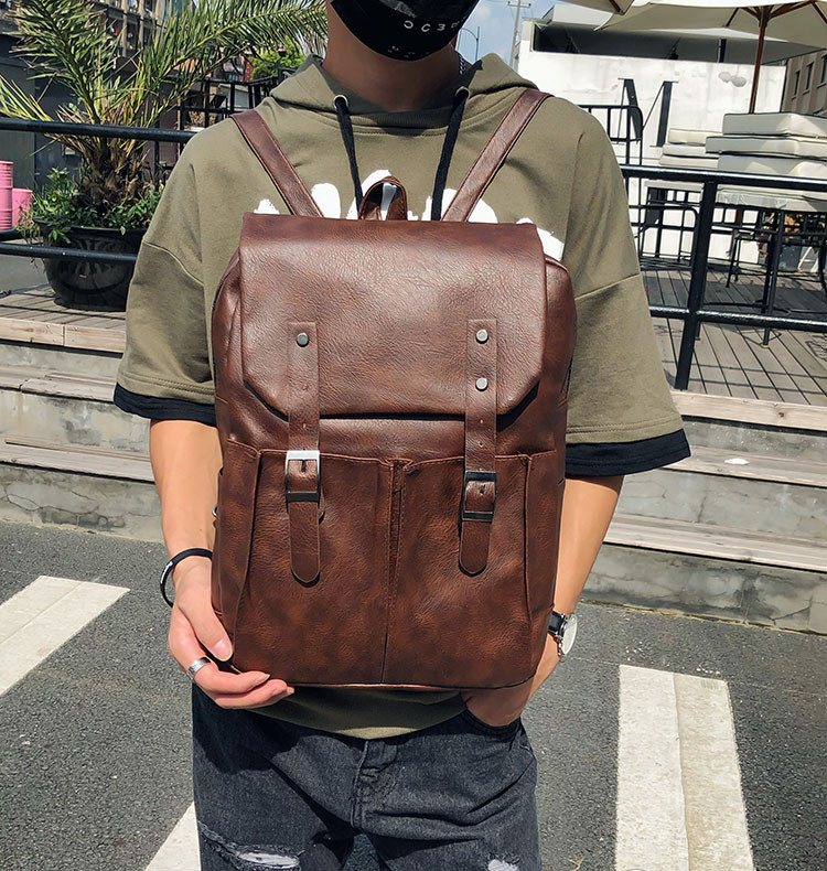 a51da9c35b03 Item specifics  Brand  2018 Ins Trend PU Leather Backpacks Men s Fashion  ...