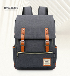 Men Daily Canvas Backpacks for Laptop Large Capacity Computer Bag Fashion Casual School Bagpacks black one size
