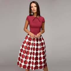 New Partney Dress with Big Wave Point Splicing Short Sleeves Party Dress Skirt 2018 Hot Sale xxl red