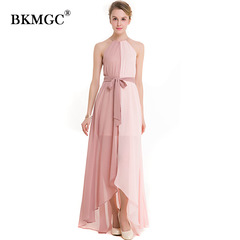 Coloured Chiffon Dress with Sexy Tie And Open Neck Women Party Dress Skirt 2018 New l pink