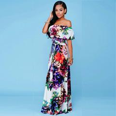 Women One-character Shoulder Dew-back Printed Dragline Dress Party Evening Dress xxl color1