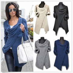 Women knitted casual jackets  long sleeve sweater tops 2018 ins black xl