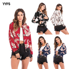 Women leisure flying crane printed baseball suit zipper sport jacket  2019 new style6 m