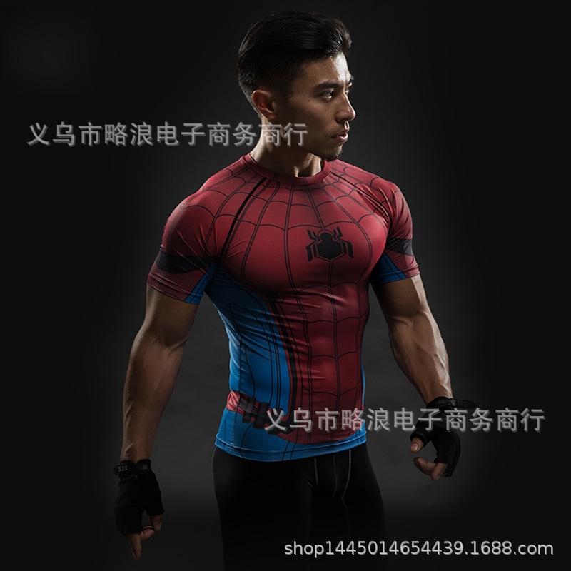 16b0333c Superhero Spider-Man Tight Garment Sports Fitness Speed Dry Short ...