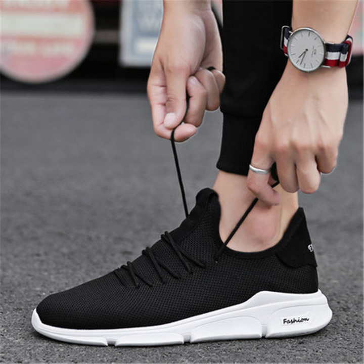 Hot sales Spring Summer Mesh Shoes Mens Sneakers  Shoes Male Brand Fashion sneakers Black 42