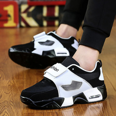New Unisex Casual Shoe Air Breathable Casual Fashion Flats Height Increasing shoes men black 36