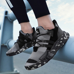 Camouflage Men Casual Shoes Outdoor Footwear Lace Up Height Increasing Shoes black 39