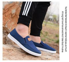 Christmas sales New fashion Korean hollow out breathable casual shoes cloth men shoes mesh shoes blue 39