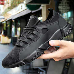 Christmas sales Breathable mesh surface tide men shoes student leisure running shoes star same style all black 39