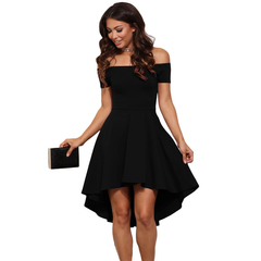 Autumn Sexy Off the Shoulder A-Line Hem Summer Dress 2018 Women Elegant Solid Slash Neck Dress s black