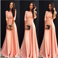 2018 new Fasion Womens Long Chiffon 3/4 Sleeve Evening Formal Party Maxi Dresses s red