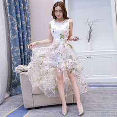 Party style dress long skirt Elegant Women White Dress Sleeveless Long Dresses s pink