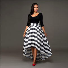 2018 Women Long Striped Evening Formal Party Cocktail Dresses Long-sleeved blouse striped skirt s black