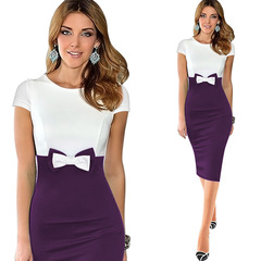 Elegant Bowknot Colorblock Pencil Dresses Bowknot stretch wrap hip lovely dress s purple