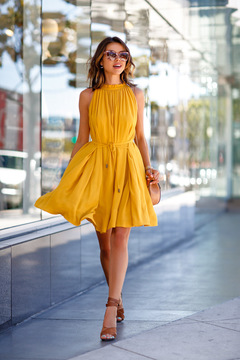 Summer Sexy Fashion Beach Dress Sleeveless Mini Dresses Party Dress OL Style Dress  Big large size s yellow