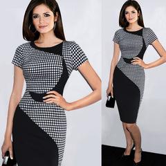 New Fashion Elegant O-neck Sleeveless Knee-length Women Optical Illusion Slimming Dresses green s black