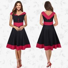 Womens Vintage Patchwork Dress Casual Work Party Office Dress Sundress OL Style Dress Plus s black
