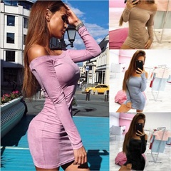 Long Sleeve off shoulder Women Suede Dress  Autumn Winter Female sexy mini Bodycon party club s black