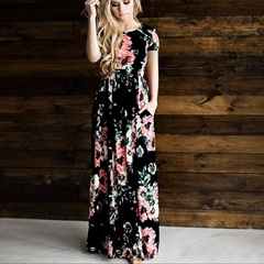 Autumn Dress Winter Long Dress Floral Print Boho Beach Dress Tunic Maxi Women Evening Party Dress s black