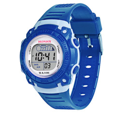 Students electronic childrens watch girls multi-functional  kids Watches Date Digital WristWatch dark blue one size