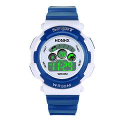 Waterproof Fashion Casual Children Kids Digital LED Quartz Alarm Date Sports girls boys Wrist Watch dark blue one size