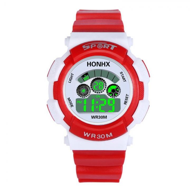 Waterproof Fashion Casual Children Kids Digital LED Quartz Alarm Date Sports girls boys Wrist Watch red one size