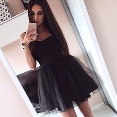New Women strap Sleeveless Evening Party tulle Dress Short Mini Dress elegant female solid ball gown S black