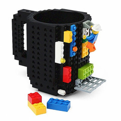 Build-On Brick Mug Type Building Blocks Coffee Cup DIY Block Puzzle Mug Portable Drinkware Drinking black one size