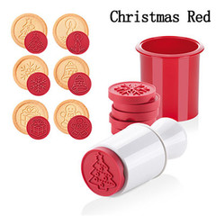 6pcs/set Cartoon  Christmas Tree Cookie Tools Cake Decoration Bakeware Kitchen Gadgets Accessories red one size