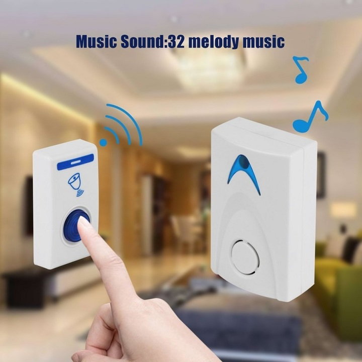 LED Door Bell Wireless Doorbell Battery Powered 32 Tune Songs 1 Remote Control 1 Wireless Doorbell white one size