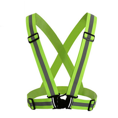 High Visibility Reflective Vest Man Women Work Clothes Night Warning Safety Outdoor  Cycling Sports 1tops+1Wristband green